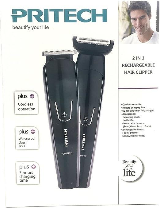 Pritech - Máquina de afeitar eléctrica 2 en 1 con recortadora de ...