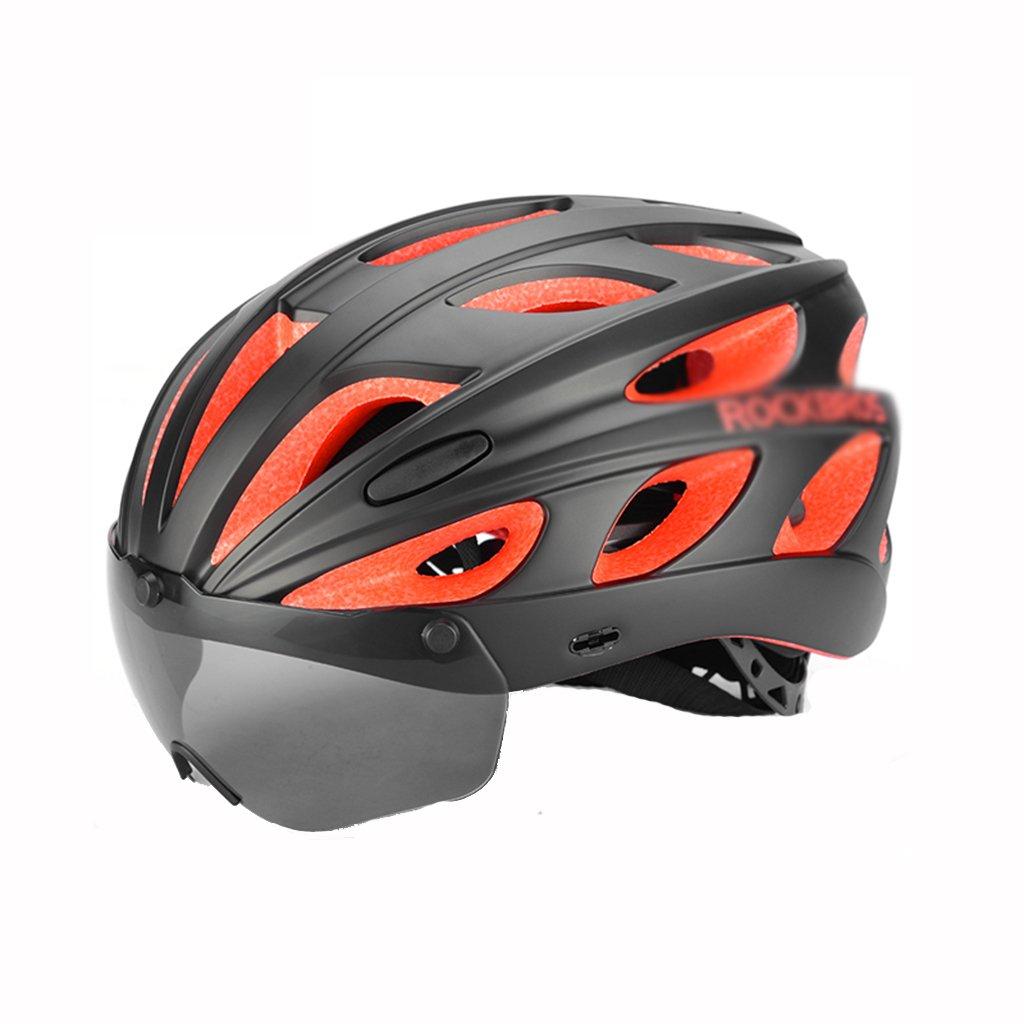 Bao Xing Bei Firm Fullface- & BMX-Helme Fahrradhelm Mountainbike Helm mit Schutzhelm Helme für Männer und Frauen (Farbe   schwarz, Größe   Head Circumference  57-62 cm)