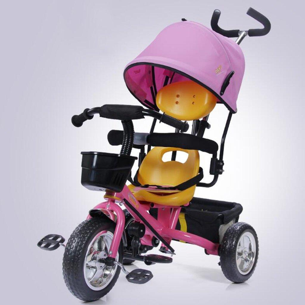 YANGFEI ベビーカー 子供用三輪車1-5歳調整サンシェード日焼け止めアンチUV自転車ショックアブソーバ泡ホイールトロリーベビーキャリッジ ショックアブソーバタイヤ  Pink B07L2FJ3YX