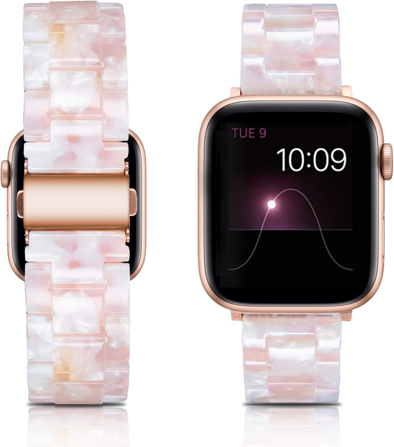 LINXUXIE Compatible with Apple Watch Band 38mm 40mm,Resin Replacement Wristband Strap with Stainless Steel Buckle for iWatch Series SE/6/5/4/3/2/1 (Pink Flower, 38/40mm)