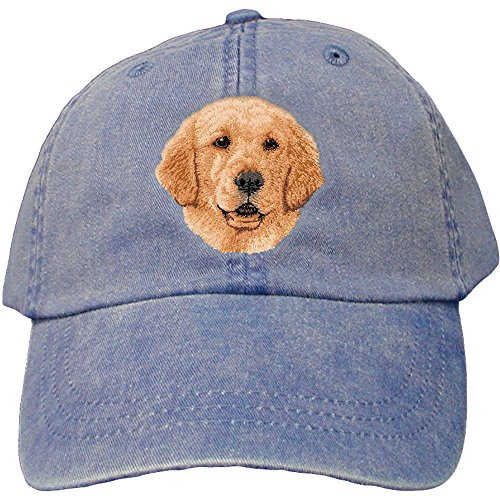 Golden Retriever Pets Cap - Cherrybrook Dog Breed Embroidered Adams Cotton Twill Caps - Royal Blue - Golden Retriever