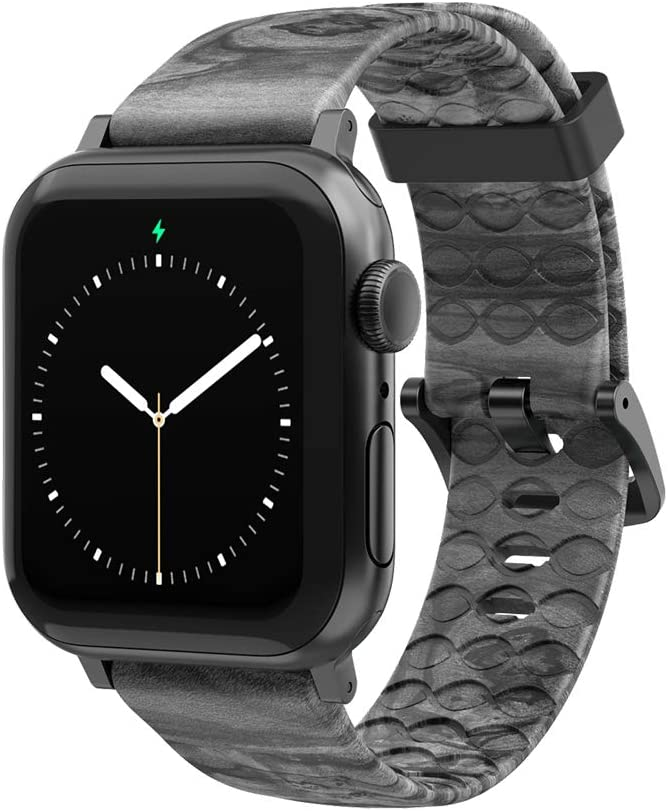 Nomad Relic Watch Band by Groove Life - Compatible with Apple Watch 38mm 40mm 42mm 44mm, Breathable Silicone Bands for Men Series 5 4 3 2 1 - Wide Long Space Grey