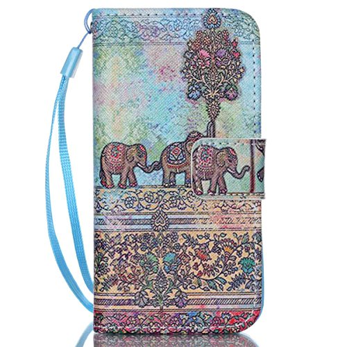 iPhone 5/5S Coque , Apple iPhone 5/5S Coque Lifetrut® [ Bleu Gris Totem Elephant ] [Wallet Fonction] [stand Feature] Magnetic snap Wallet Wallet Prime Flip Coque Etui pour Apple iPhone 5/5S
