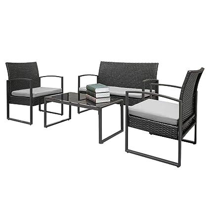 Amazon.com: Patio Sofa Set 4 Pcs Outdoor Weather Resistant ...
