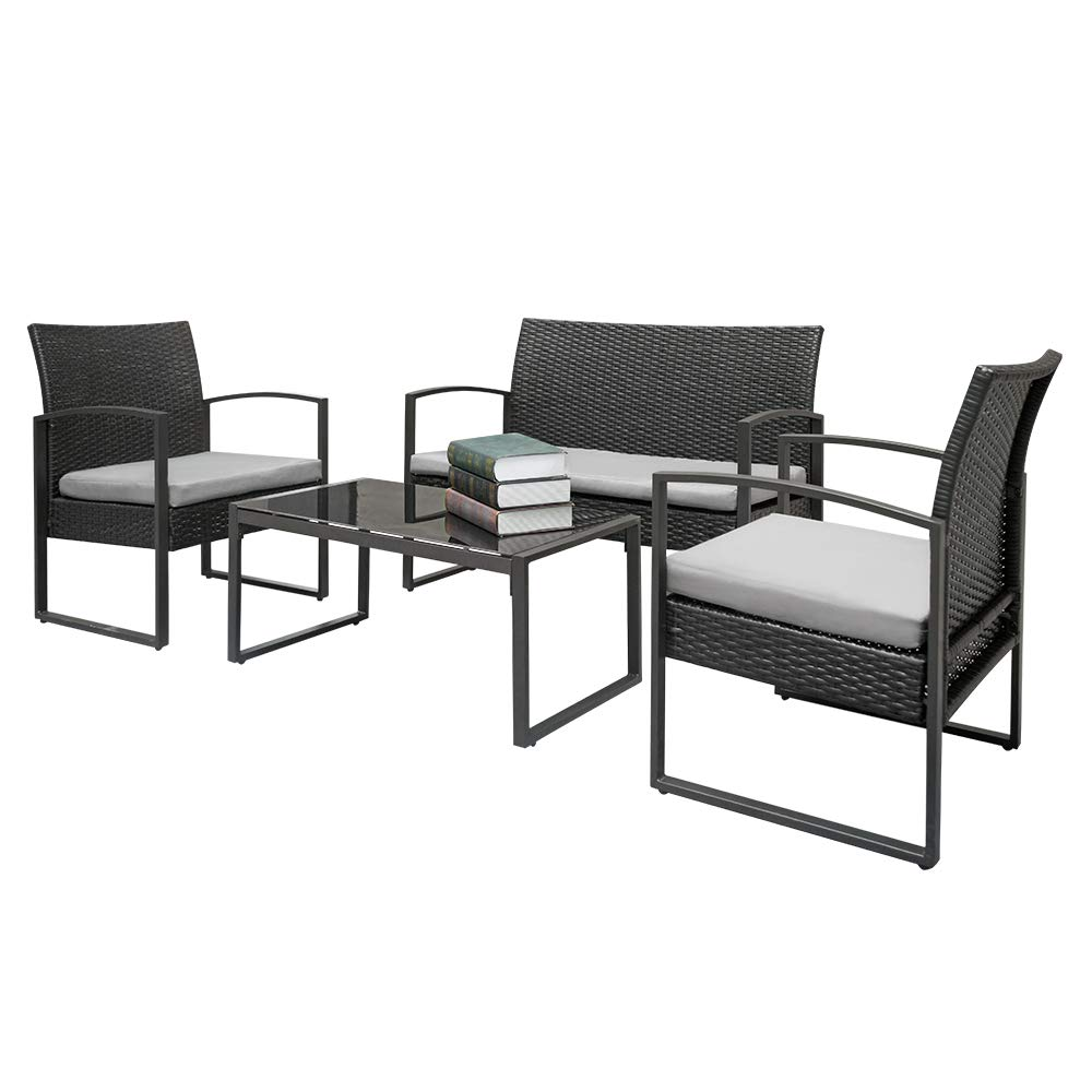 4-Piece Rattan Outdoor Sofa Set with Tempered Glass Coffee Table