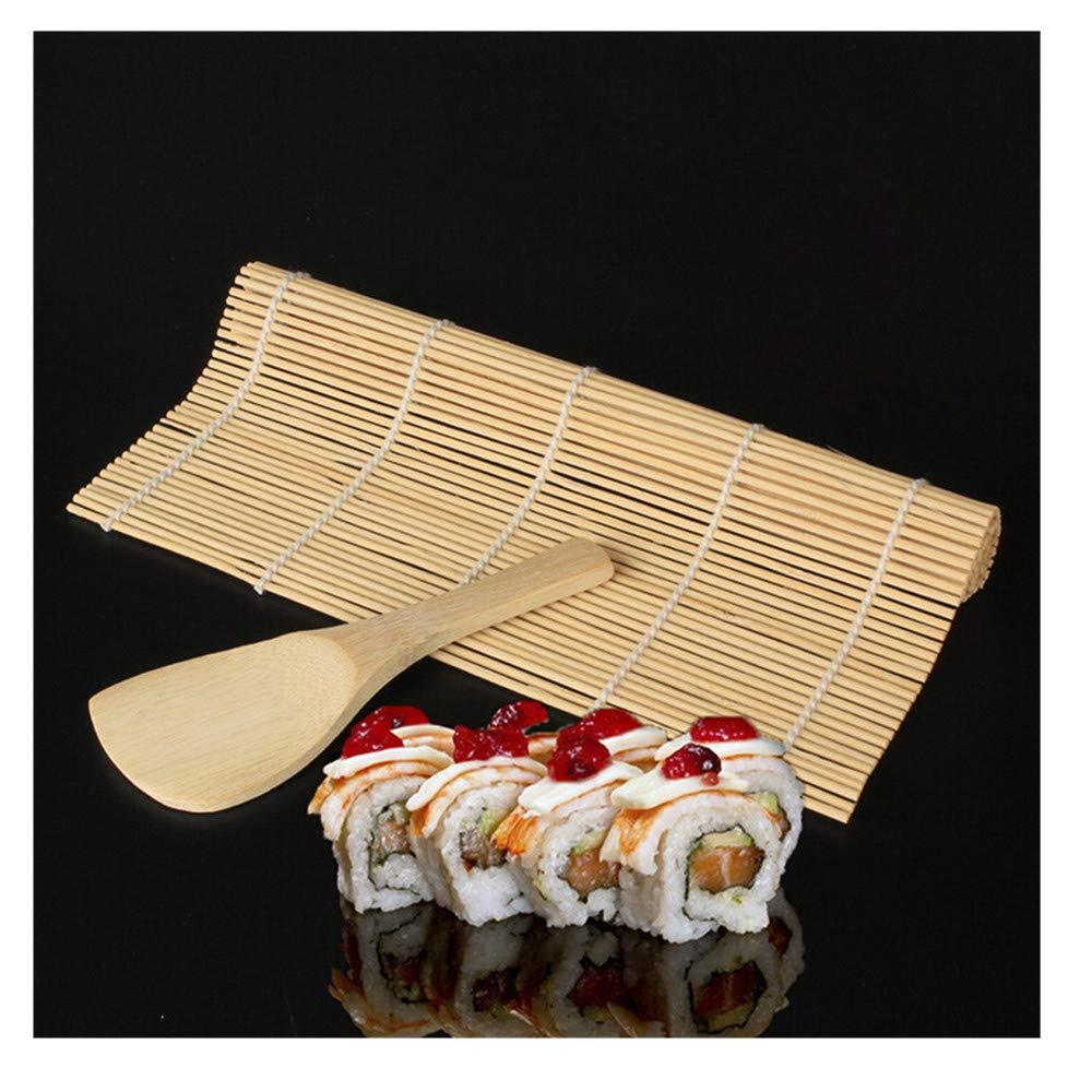 Promisen Bamboo Sushi Kit,Sushi Maker Kit Rice Roll Mold,Kitchen DIY Mould Roller Mat Rice Paddle Set,Beginner Sushi Making Kit (Beige)