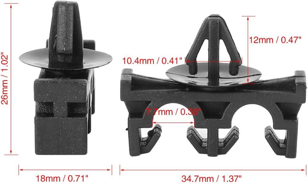 X AUTOHAUX 5pcs Vehicle Plastic Fasteners Circuit Clip Retainer Double Hole Holder Clamp Black 34.7x26mm for Honda