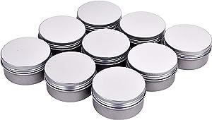 Fizz 3 oz. 12 Pack Metal Tins Cans Bulk Storage Aluminum Jars Round Food Tins Screw Top Refillable Containers 3 Oz Tins Jars(Silver)