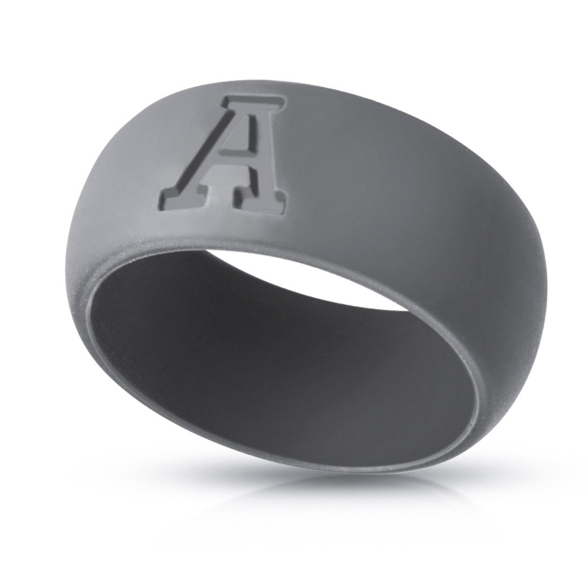JungleSport™ Silicone Wedding Ring for Men and Women – Comfortable Fit Rubber Band – Choose Custom Alphabet Initials A-Z – Engagement Ring for Brid Groom – Sizes: 8-12(Graphite Grey)