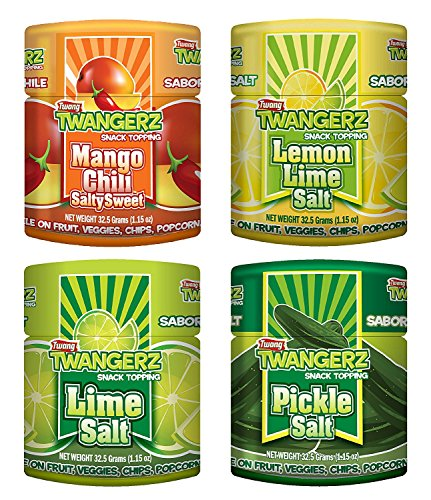 Twang Twangerz Flavored Salt Snack Topping - Lime, Lemon Lime, Mango Chili & Dill Pickle (Assorted, 4 Pack)