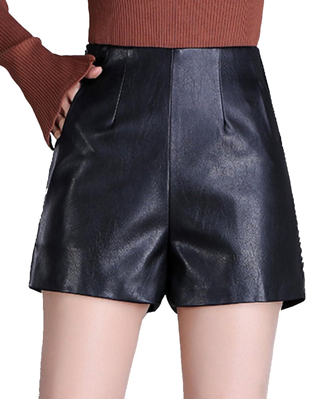 Blansdi Women Fashion High Waist PU Leather Plus Size Classic Slim Hot Shorts Pants