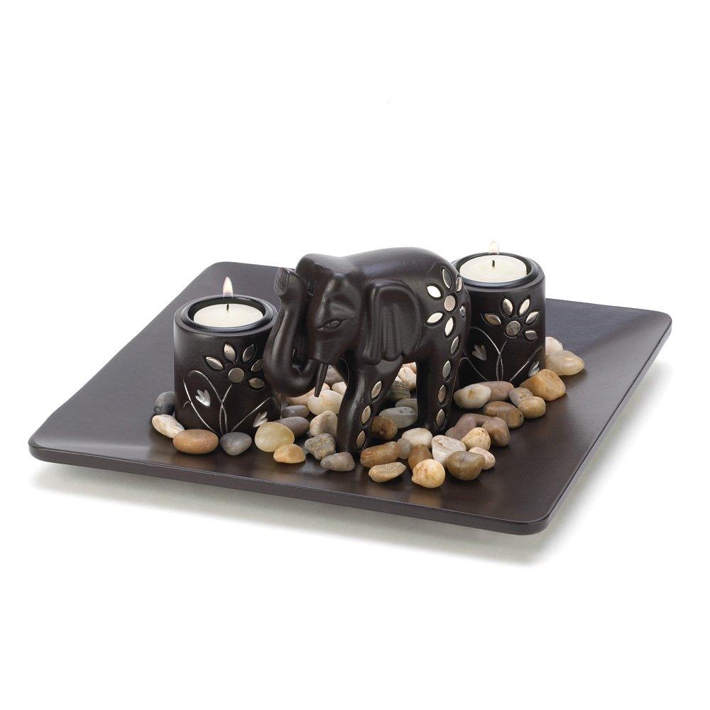 Elephant Figure Tealight Candleholder Plate Light Set