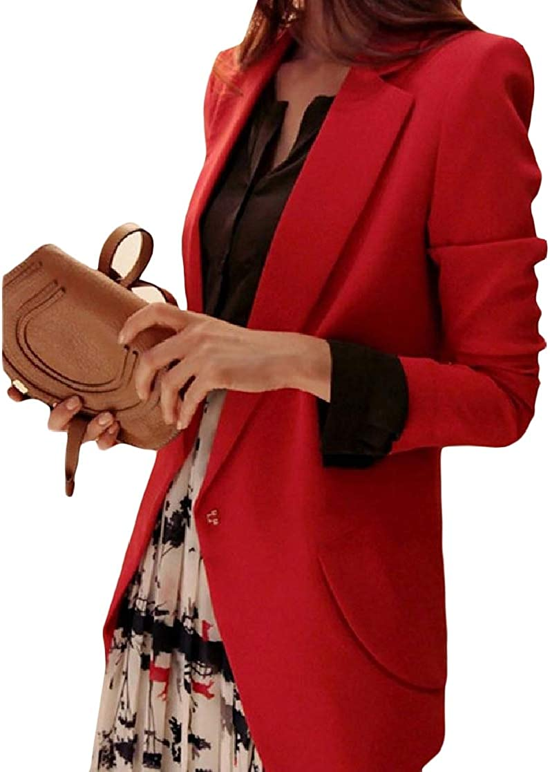 YUNY Womens Lapel Fit Solid Pockets Mid-Long Plus Size Blazer Jackets Red L