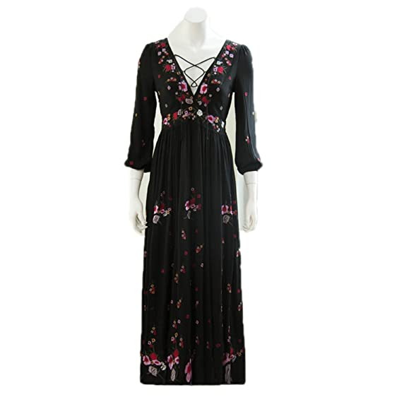 Twilaisaac Fashion longa dress v-neck bohemia floral oco out impresso longo dress mulheres elegantes