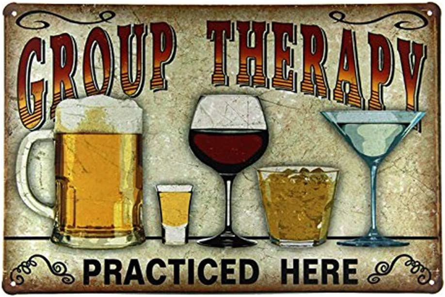 LPLED Group Therapy Practiced Here TIN Sign Alcohol Beer Wine Home Bar Wall Decor (M0076)
