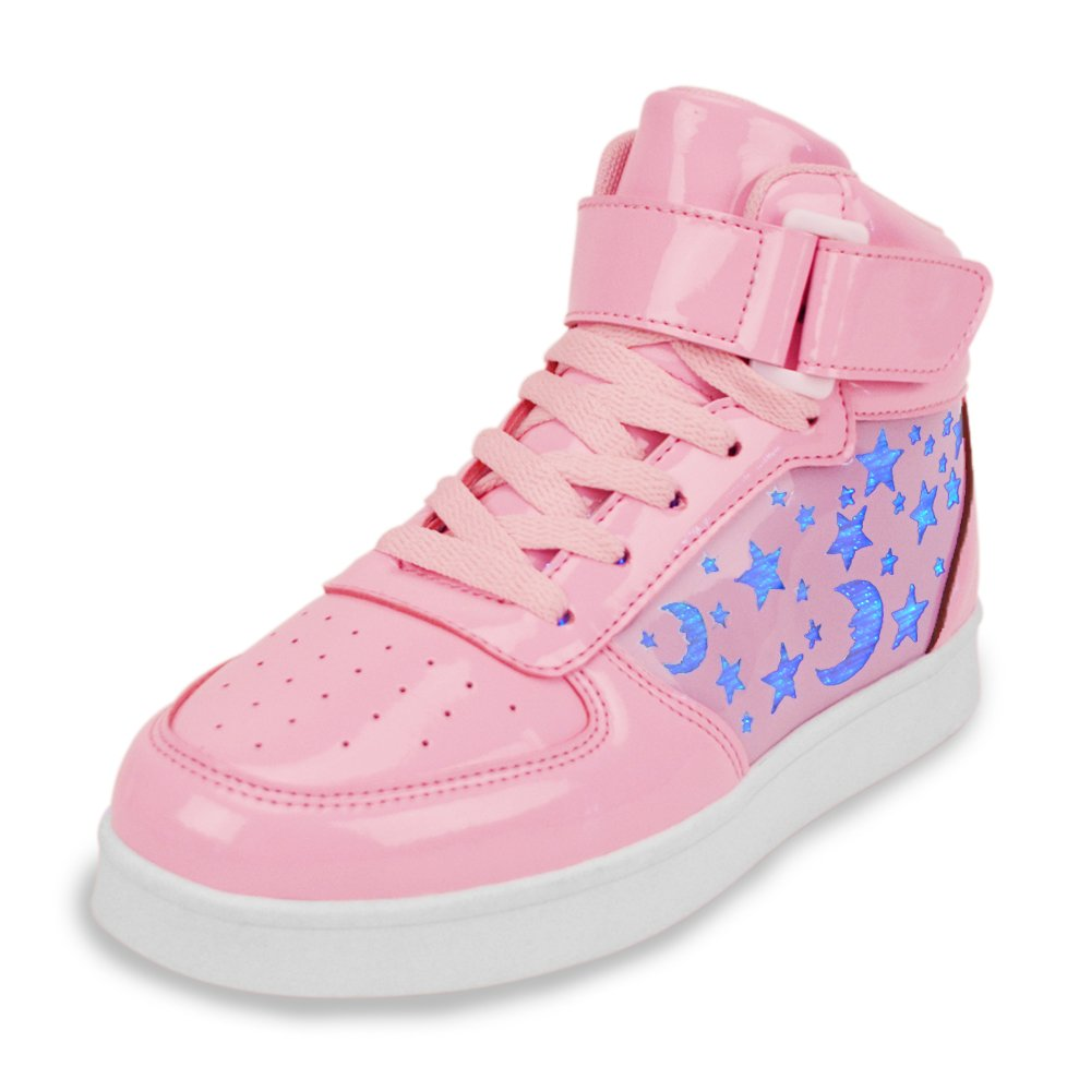Earsoon Light Up Shoes Kids Sneakers Boys Girls LED Rechargeable Shoes (2018 New Design) Fiber Optic High Top Flashing USBCharging for Fashion Shoes Christmas Gifts (7.5 M US Big Kid, Pink)