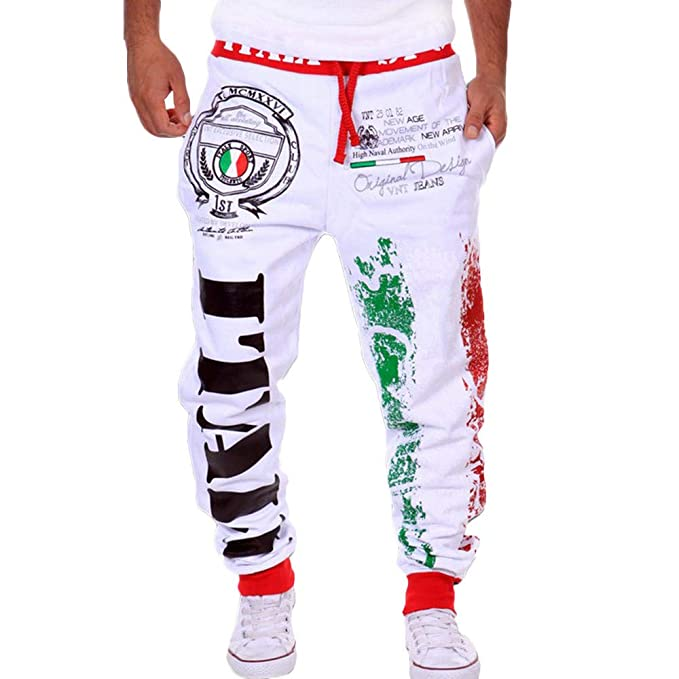 bd439dec20a Ratoop Men's Casual Fashion Sport Baggy Jogger Long Pant CottonPrint  Sweatpants Hip hop Dance Back Pocket