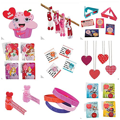 Deluxe Valentine Party Gift Bundles for 2 -- Heart Buckets (2) Long Armed Plush Gorillas (2) 3D Glasses with 3D Cards (2) Cupcake Craft Kits & More