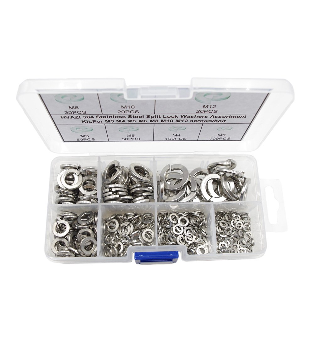 Stainless Steel 350-Piece Capri Tools 10020 Flat and Lock Washers Assortment