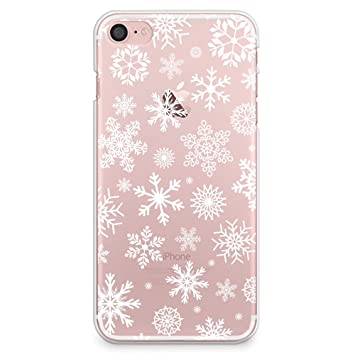 amazoncom casesbylorraine iphone 8 case iphone 7 case christmas snowflakes clear transparent case xmas holiday slim hard plastic back cover for apple