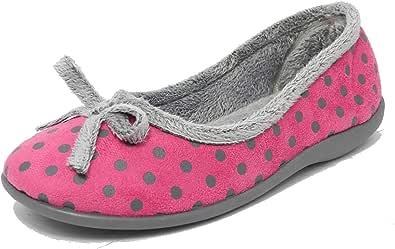 Sleepers Zapatillas de estar por casa con estampado de lunares rosas o azules, espuma viscoelástica, forro de piel sintética de terciopelo suave y pala de micro gamuza para mujer