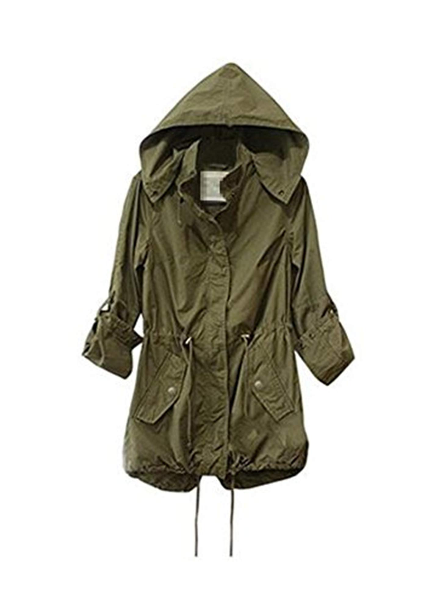 Taiduosheng Women's Army Green Anorak Jacket Lightweight Drawstring Hooded Military Parka Coat S by Taiduosheng