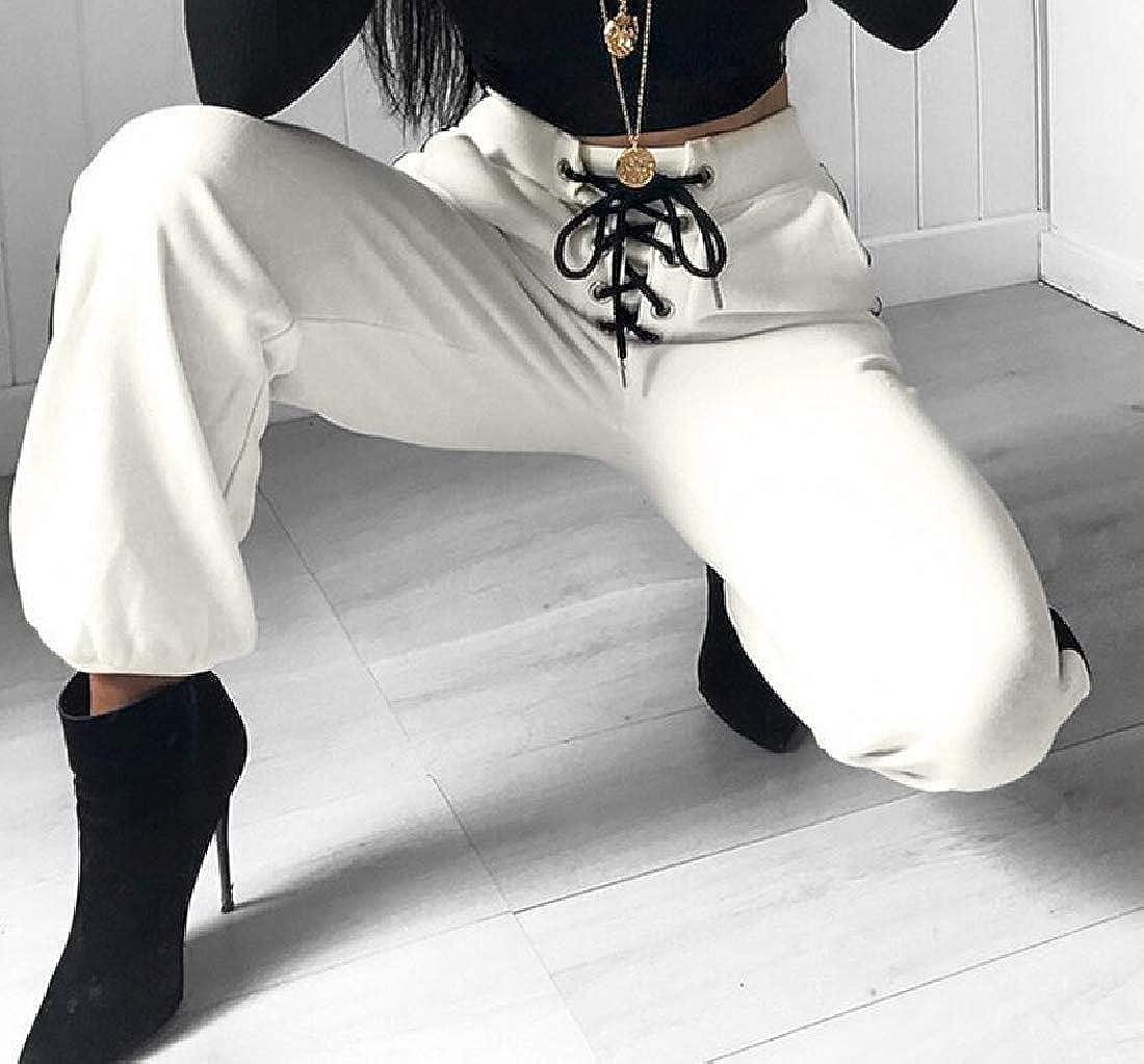 Hajotrawa Women Contrast Color Lace-up Casual Sport Waist Drawstring Jogger Pants