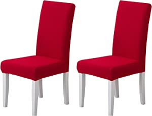 Pack of 2 - Dining Room Chair Slipcovers, Stretch Spandex Dining Chair Covers, Furniture Protector Covers Removable & Washable, Perfect for Dining Room, Restaurant, Hotel, Ceremony, Event Red