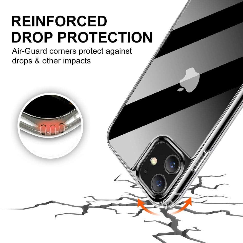 Housse /Étui Compatible avec iPhone 11 9H Verre Anti-Rayures et TPU Silicone iPhone 11 Shock-Absorption Bumper Case Transparent KKTICK Coque en Verre iPhone 11