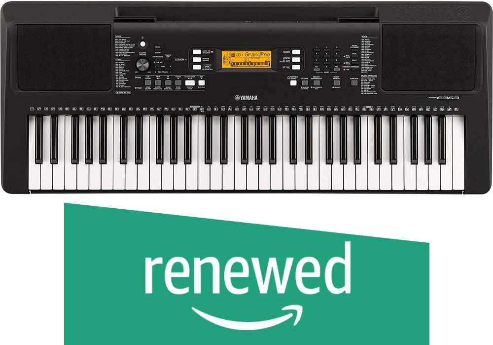 (Renewed) Yamaha PSRE363 61-Key Touch Sensitive Portable Keyboard