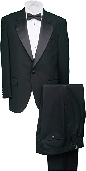 Men/'s Regular Fit 100/% Wool 1-Button Peak Lapel Two-Piece Tuxedo Suit