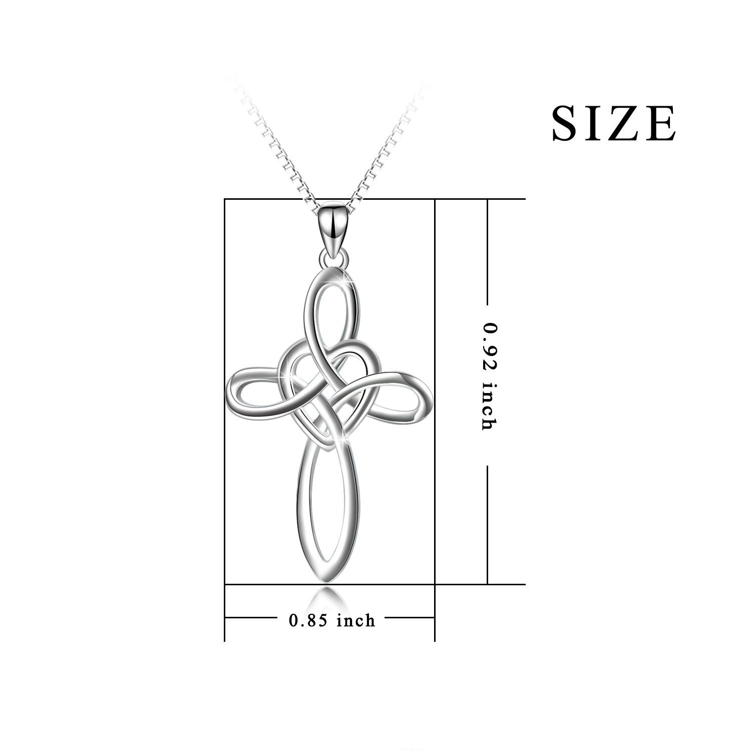 YFN Celtic Knot Cross Necklace 18k White Gold Overlay Sterling Silver Infinity Love Heart Pendant Necklace for Women Men 18'' by YFN (Image #3)