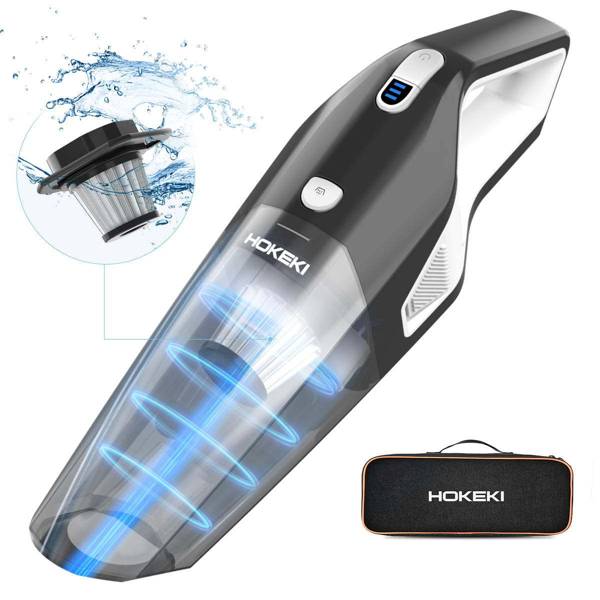 HOKEKI Handheld Vacuum Cleaner Cordless with Powerful Suction 8KPA, 2200mAh Lithium Battery & Stainless Steel Filter for Home and Car Cleaning,Wet Dry Lightweight Hand Vac