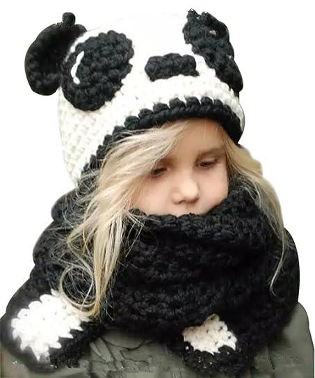 Amazon Winter Warm Cute Panda Pattern Beanie Scarf Children