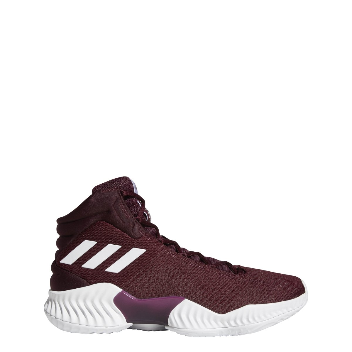 adidas Men's Pro Bounce 2018 Basketball Shoe, White/Maroon, 4 M US