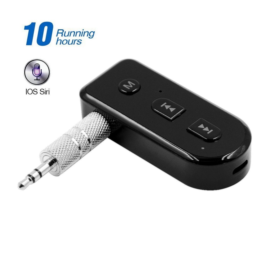 YELLWWORS Bluetooth Receiver, Hands-Free Car Kit [Built-in Microphone], Mini Wireless Music Adapter for Home/Car Audio System, Siri Function