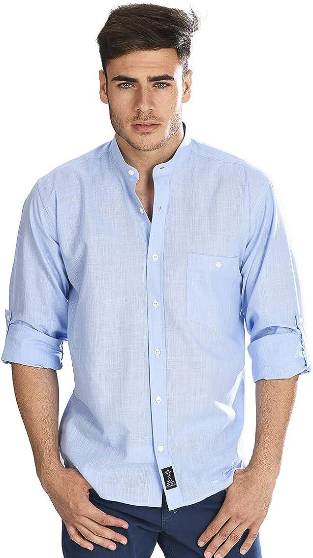 Camisa Manga Larga con Tejido Tipo Lino Azul y Cuello Mao para Hombre: Amazon.es: Ropa y accesorios