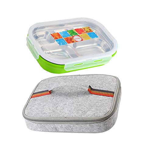 d8d7107f2201 5 Compartments Stainless Steel Lunch Box Bento Food Storage Container with  Insulated Bag (Green)
