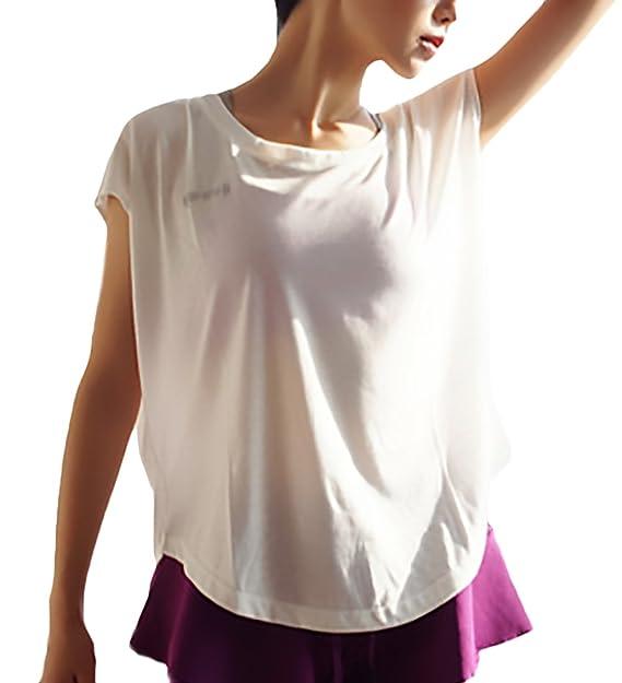 Camisetas Mujer Verano Basicas Manga Corta Cuello Redondo Color Solido Suelto Moda Casual Joven Bastante De Secado Rápido Camisetas Deporte Running T-Shirt ...