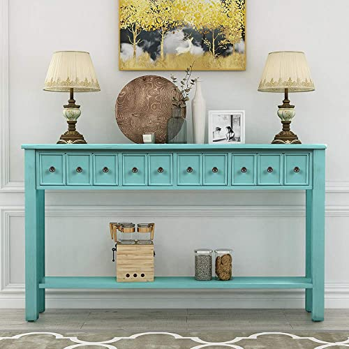 Vadiuyu 60 Rustic Entryway Console Table, Sofa Table with Two Different Size Drawers and Bottom Shelf for Storage Blue