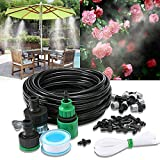 Wiewish Misting System 32.8ft Outdoor Cooling Mist System Drip Irrigation Mister with 10pcs Misting Nozzle Spinklers for Patio Garden Greenhouse