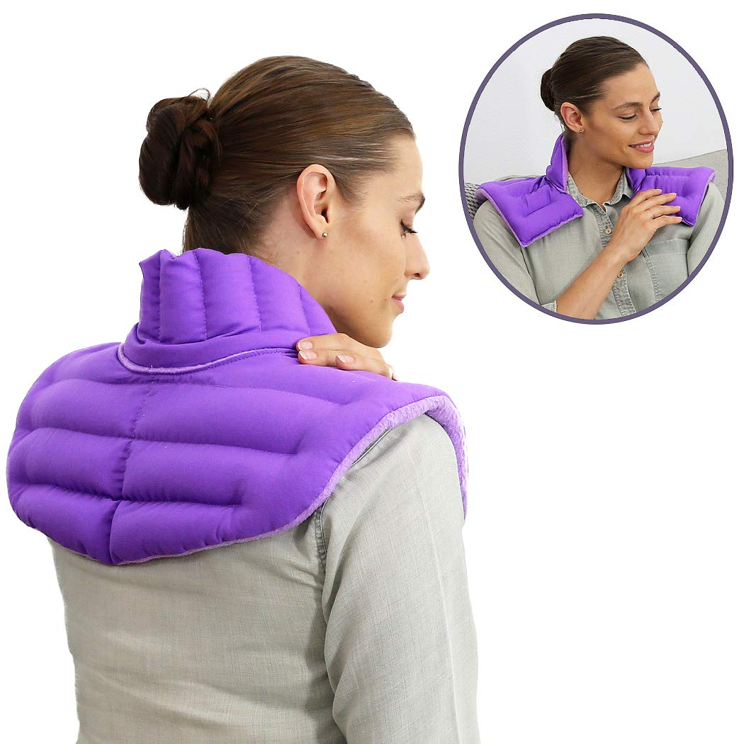 My Heating Pad - Upper Back Neck and Shoulders Heating Pad Microwavable | Large Hot Pack for Pain Relief | Treat Upper Back Aches, Sore Neck, Shoulder Pain, Tensed Muscles, Joints Pain etc (Purple)