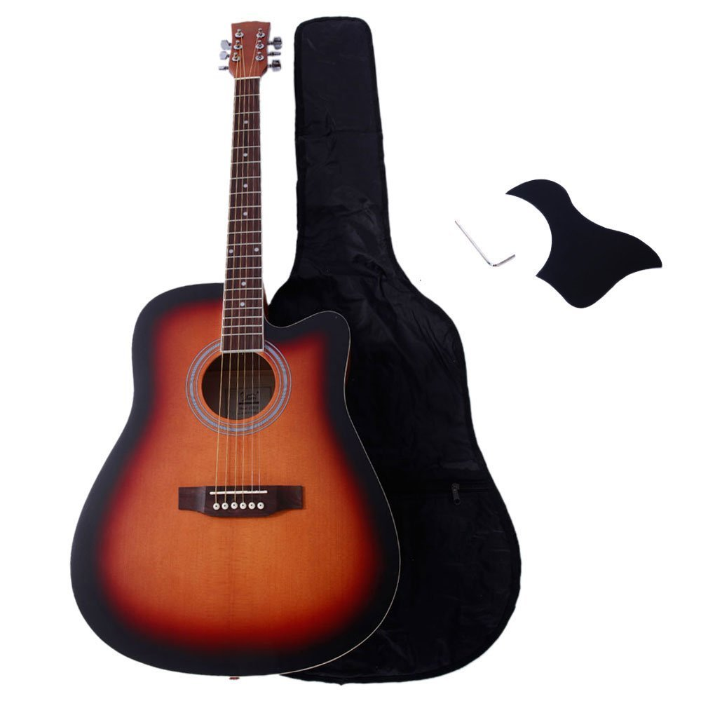 Glarry 40'' Spruce Front and Rosewood Fingerboard Cutaway Folk Guitar for Music lovers with Accessories include Guitar Bag, Board and Wrench(Sunset)…
