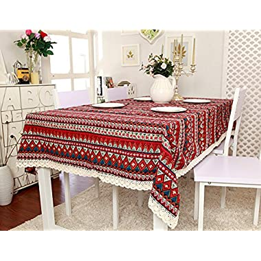 ColorBird 1 pc Bohemian Style Geometric Design Rectangle Tablecloth Linen Lace Table Cloth Dinning Table Cover (55'' x 70'', Red with Lace)