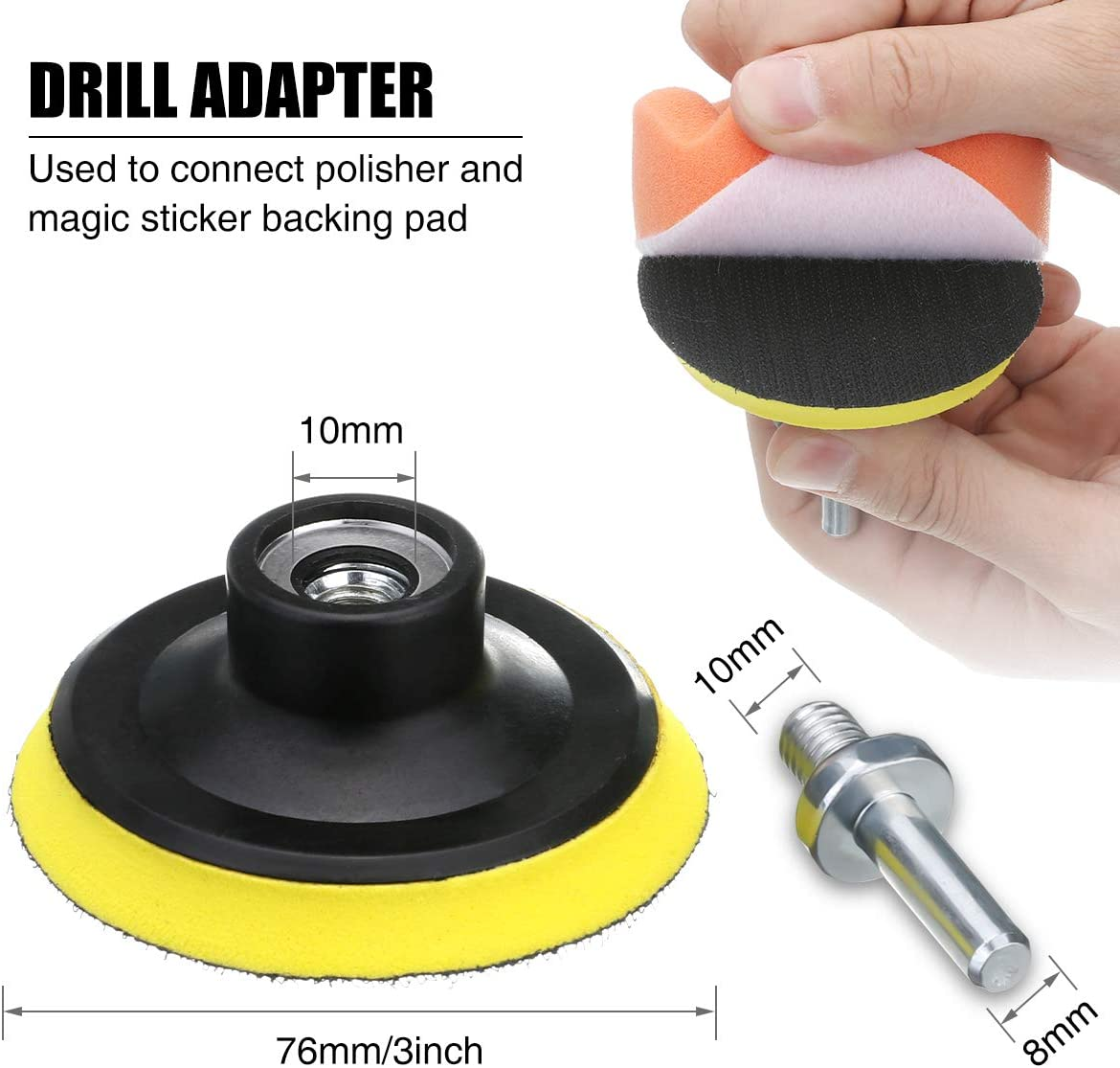 Wool Pads Car Foam Drill Polishing Pad Kit Cleaning /& Waxing GOH DODD 3 inch 50 Pieces Polisher Buffing Pads Backing Plate M10 Drill Adapter for Washing