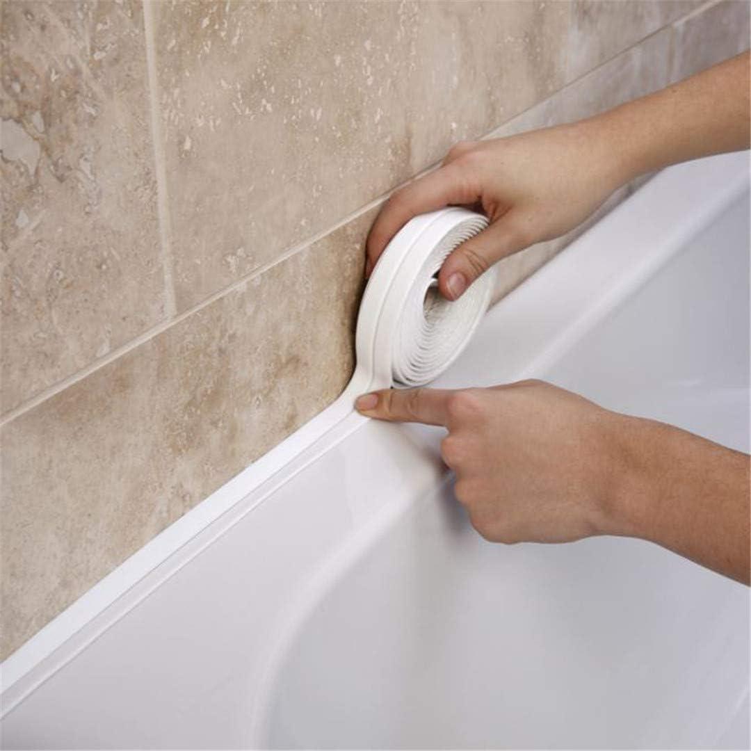 3 4mx38mm Bathroom Shower Sink Bath Sealing Strip Tape White Pvc Self Adhesive Waterproof Wall Sticker For Bathroom Kitchen Amazon Com