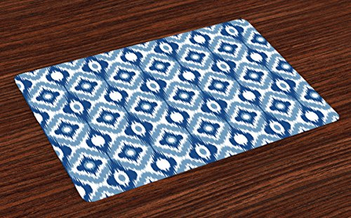 Ambesonne Ikat Place Mats Set of 4, Ethnic Ikat Design with Regular Multi-Shaft Loom Uneven Twill Trend Motif, Washable Fabric Placemats for Dining Room Kitchen Table Decor, Dark Blue and White