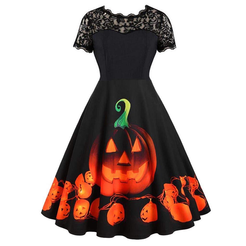 Women's Halloween Costume Dress Vintage Pumpkin Lace 50s Cocktail Party A-Line Tea Dresses (M, Black) by sweetnice Women Dresses