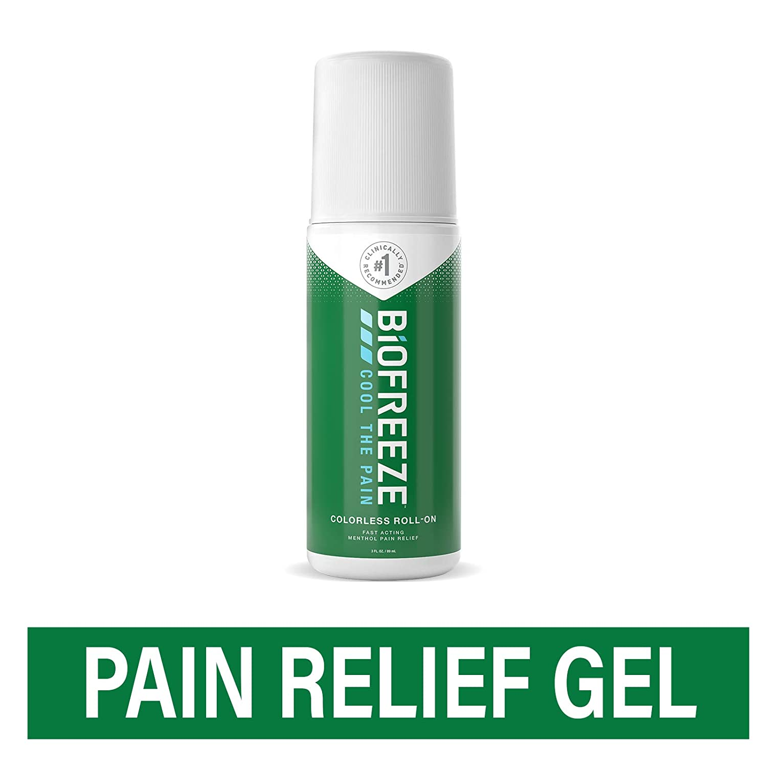 Biofreeze Pain Relief Gel, 3 oz. Colorless Roll-On, Fast Acting, Long Lasting, & Powerful Topical Pain Reliever (Packaging May Vary)