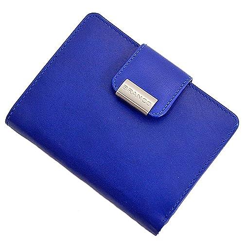 8f6f045a1d139 BRANCO Leder Damen Geldbörse Börse Portemonnaie Geldbeutel 10x13x2cm blau